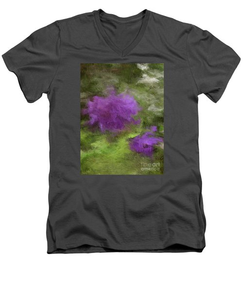 Men's V-Neck T-Shirt featuring the digital art Monet Meadow by The Art of Alice Terrill