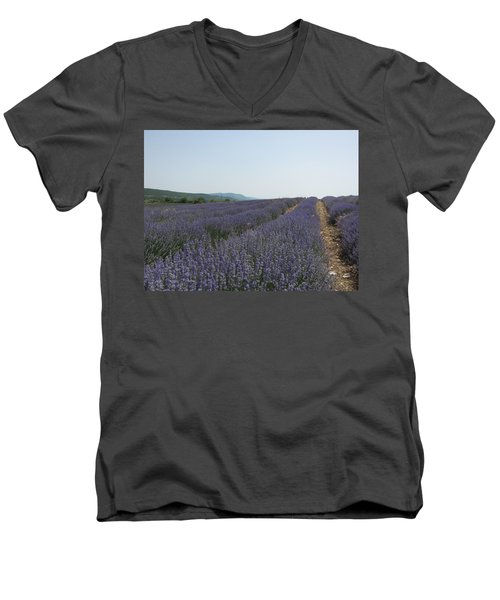 Men's V-Neck T-Shirt featuring the photograph Lavender Sky by Pema Hou