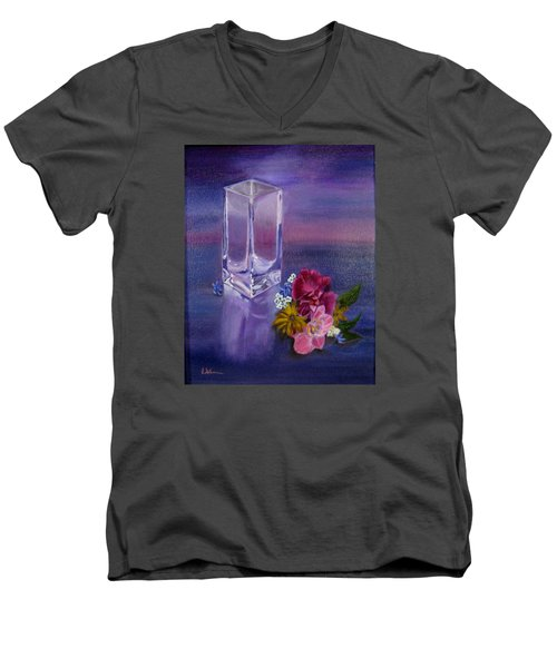 Lavender Vase Men's V-Neck T-Shirt by LaVonne Hand