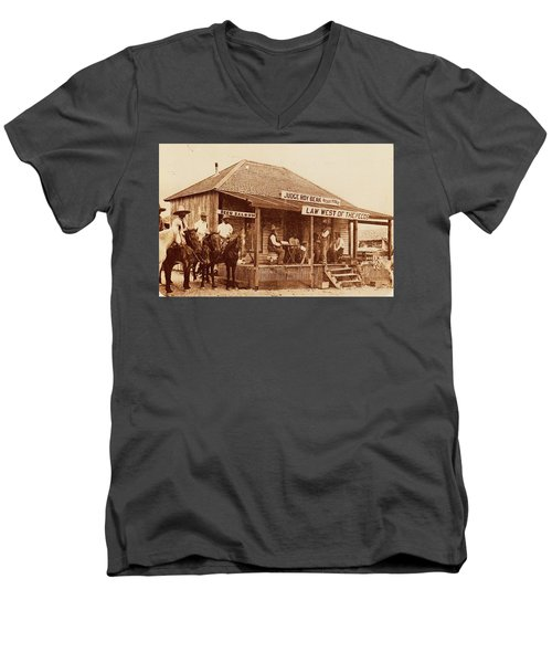 Law West Of The Pecos Men's V-Neck T-Shirt by Pg Reproductions