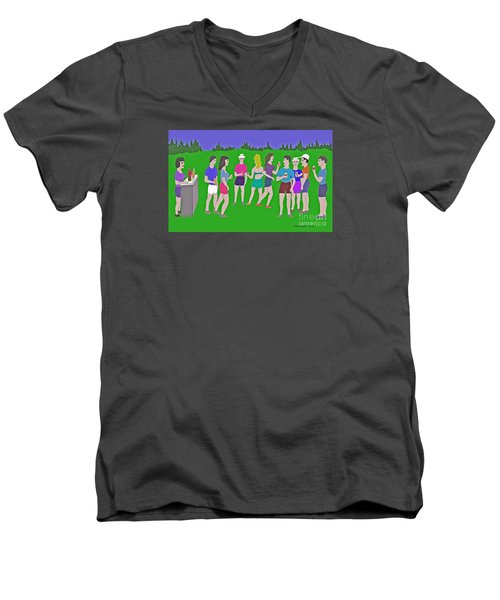 Lawn Party  Men's V-Neck T-Shirt by Fred Jinkins