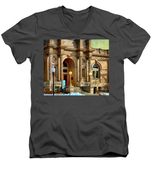Lawrence City Library Men's V-Neck T-Shirt by Liane Wright
