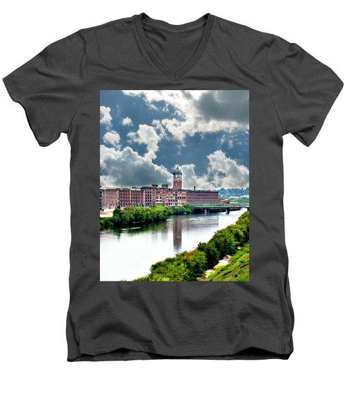 Lawrence Ma Historic Clock Tower Men's V-Neck T-Shirt by Barbara S Nickerson