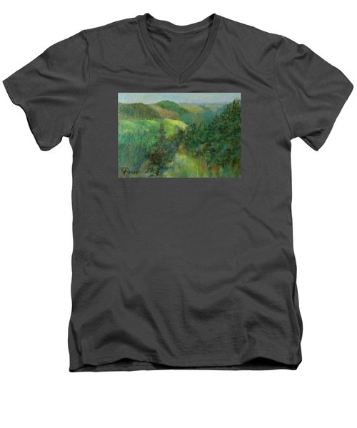 Layers Of Mountain Ranges Colorful Original Landscape Oil Painting Men's V-Neck T-Shirt by Elizabeth Sawyer