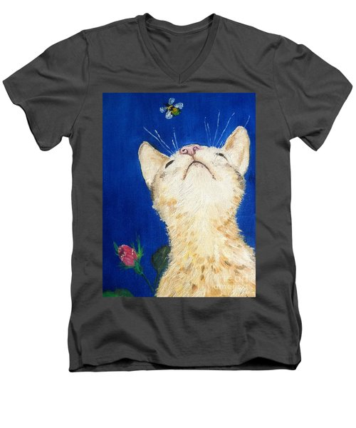 Men's V-Neck T-Shirt featuring the painting Lea And The Bee by Reina Resto