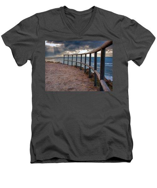 Rail By The Seaside Men's V-Neck T-Shirt