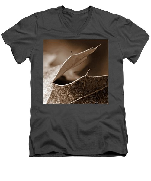 Men's V-Neck T-Shirt featuring the photograph Leaf Collage 2 by Lauren Radke