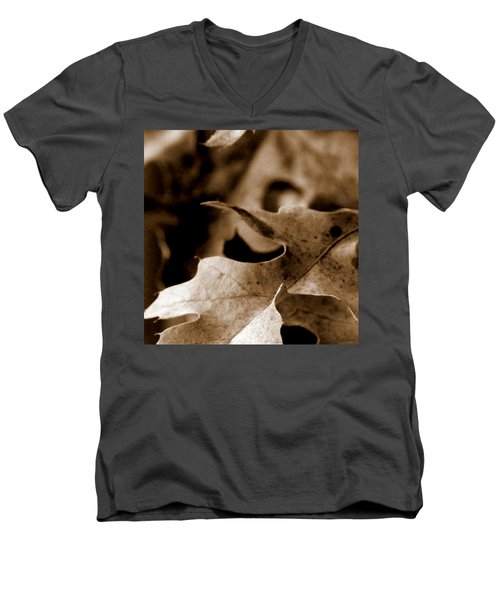 Men's V-Neck T-Shirt featuring the photograph Leaf Collage 4 by Lauren Radke