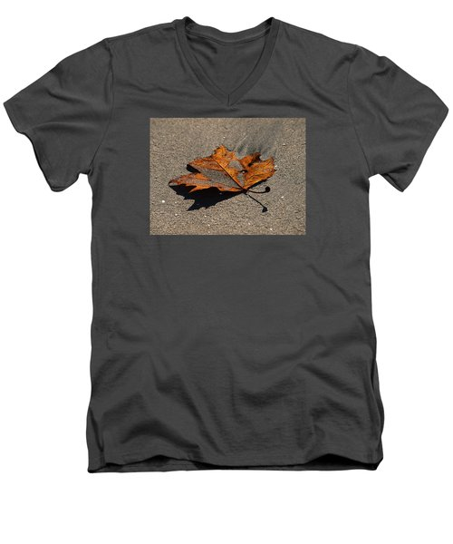 Men's V-Neck T-Shirt featuring the photograph Leaf Composed by Joe Schofield