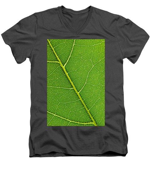 Leaf Detail Men's V-Neck T-Shirt by Carsten Reisinger