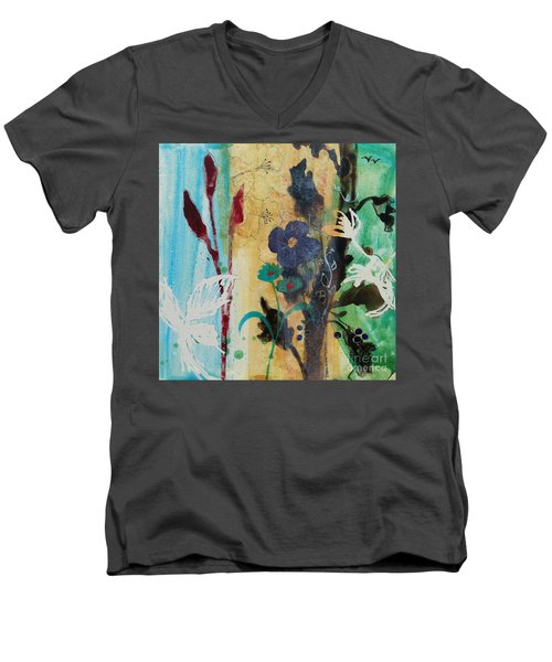 Men's V-Neck T-Shirt featuring the painting Leaf Flower Berry by Robin Maria Pedrero