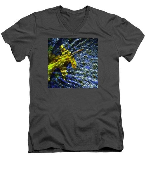 Leaf In Creek - Blue Abstract Men's V-Neck T-Shirt by Darryl Dalton