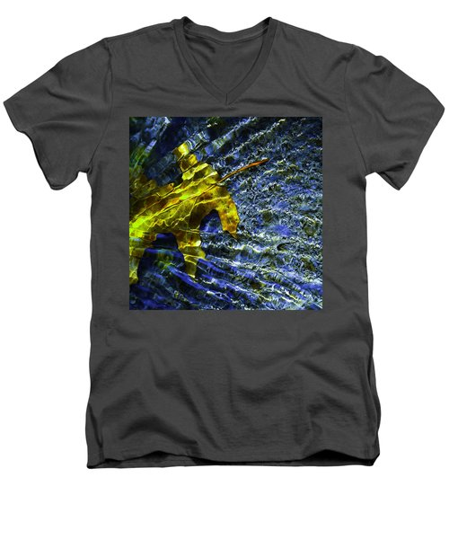 Leaf In Creek - Blue Abstract Men's V-Neck T-Shirt