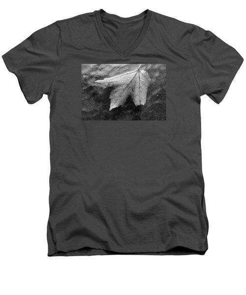 Leaf On Glass Men's V-Neck T-Shirt by John Schneider