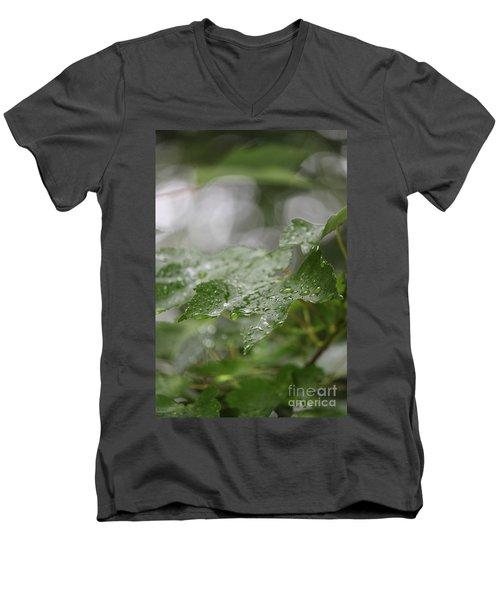 Leafy Raindrops Men's V-Neck T-Shirt