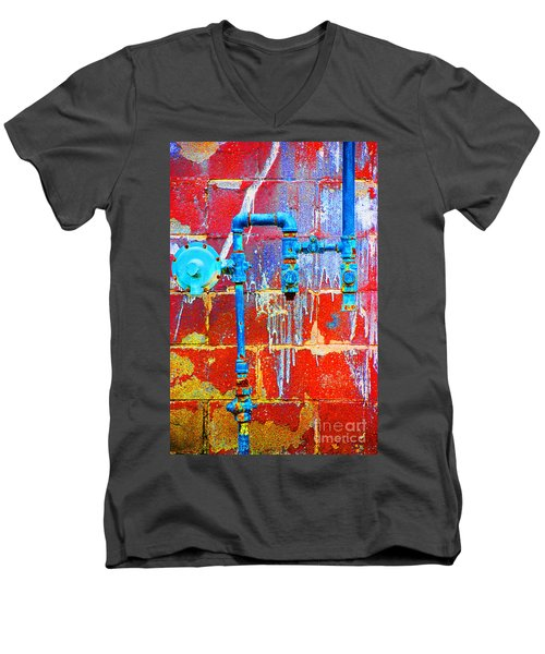 Men's V-Neck T-Shirt featuring the photograph Leaky Faucet by Christiane Hellner-OBrien