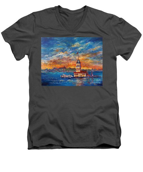 Men's V-Neck T-Shirt featuring the painting Leanders Tower  Istanbul by Lou Ann Bagnall