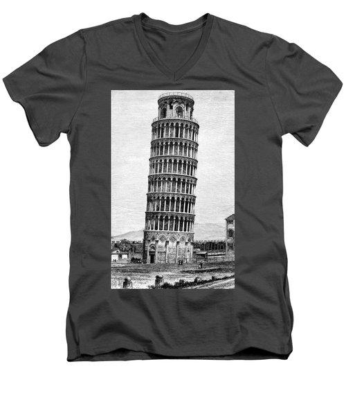 Leaning Tower Of Pisa 1870 Drawing Men's V-Neck T-Shirt