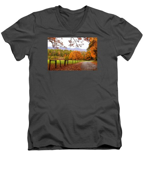 Men's V-Neck T-Shirt featuring the photograph Leaves A'fallin by Geraldine DeBoer