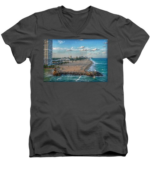 Leaving Port Everglades Men's V-Neck T-Shirt by Hanny Heim
