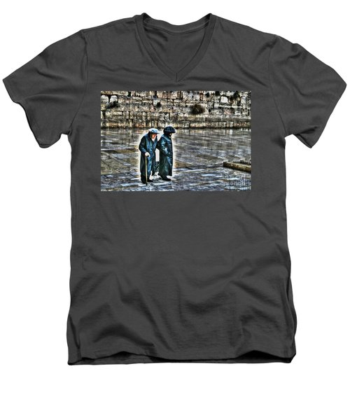 Men's V-Neck T-Shirt featuring the photograph Leaving The Western Wall In Israel by Doc Braham