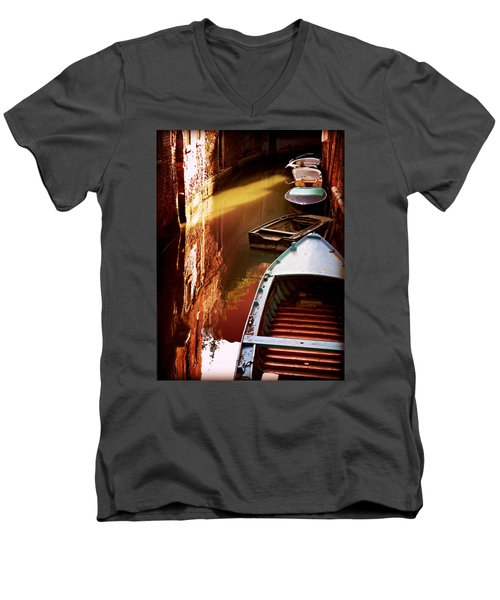 Men's V-Neck T-Shirt featuring the photograph Legata Nel Canale by Micki Findlay
