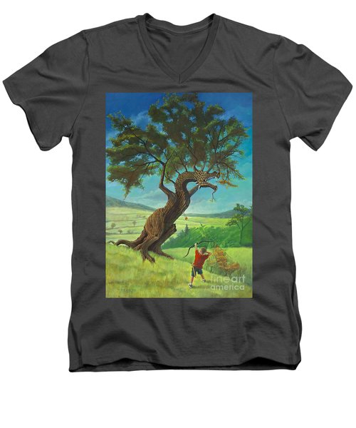 Men's V-Neck T-Shirt featuring the painting Legendary Archer by Rob Corsetti