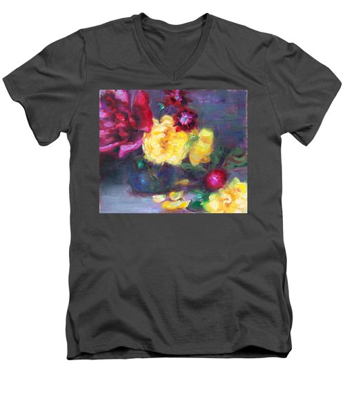 Lemon And Magenta - Flowers And Radish Men's V-Neck T-Shirt