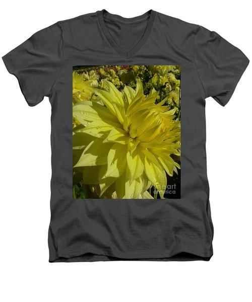 Lemon Yellow Dahlia  Men's V-Neck T-Shirt by Susan Garren