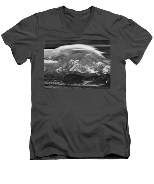 101366-lenticular Cloudcap Over Mt. Mckinley Men's V-Neck T-Shirt