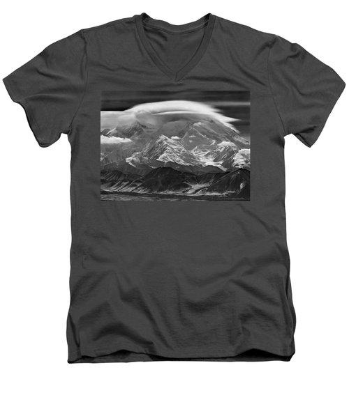 101366-lenticular Cloudcap Over Mt. Mckinley Men's V-Neck T-Shirt