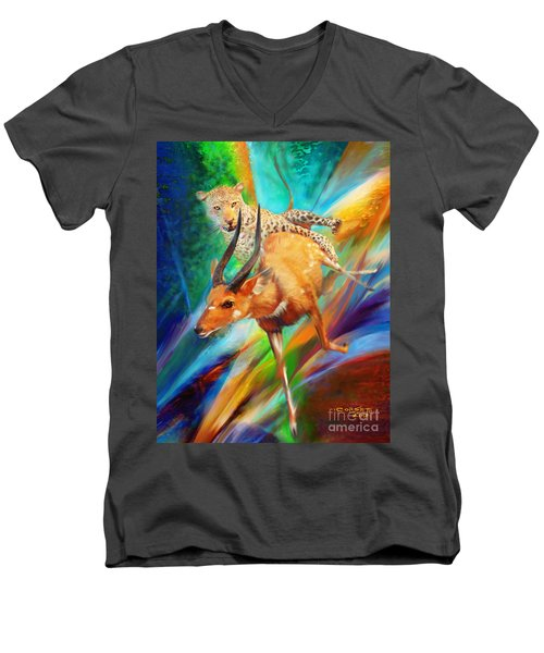 Men's V-Neck T-Shirt featuring the painting Leopard Attack by Rob Corsetti
