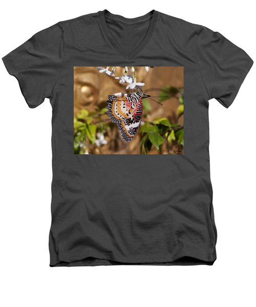 Men's V-Neck T-Shirt featuring the photograph Leopard Lacewing Butterfly Dthu619 by Gerry Gantt