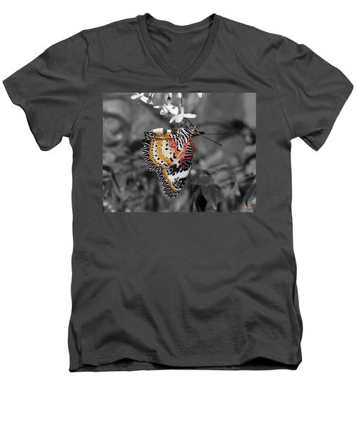 Men's V-Neck T-Shirt featuring the photograph Leopard Lacewing Butterfly Dthu619bw by Gerry Gantt