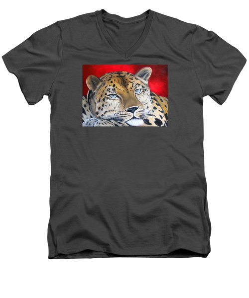Leopardo Men's V-Neck T-Shirt by Angel Ortiz