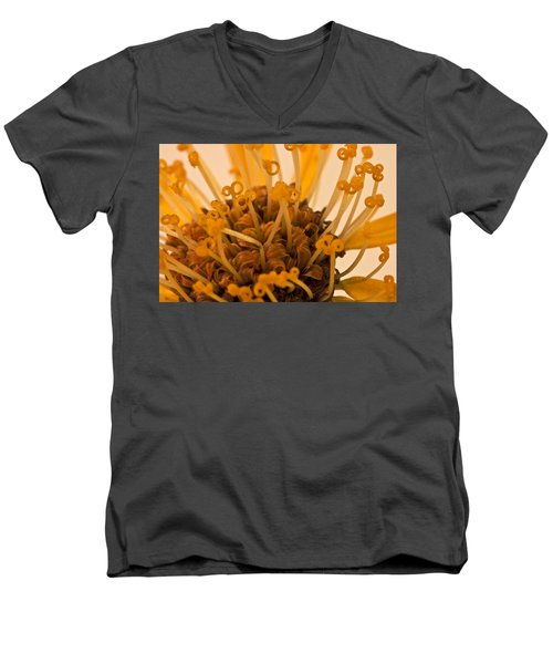 Men's V-Neck T-Shirt featuring the photograph Leopards Bane Flower Macro by Sandra Foster