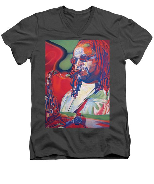 Leroi Moore Colorful Full Band Series Men's V-Neck T-Shirt by Joshua Morton