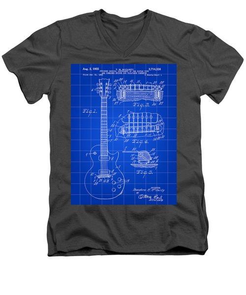 Les Paul Guitar Patent 1953 - Blue Men's V-Neck T-Shirt
