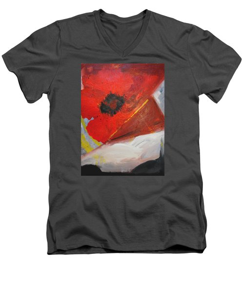 Men's V-Neck T-Shirt featuring the painting Ode Of Remembrance by Evelina Popilian