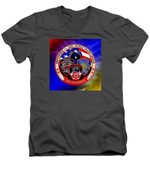 Men's V-Neck T-Shirt featuring the digital art Least We Forget  by Nick Kloepping