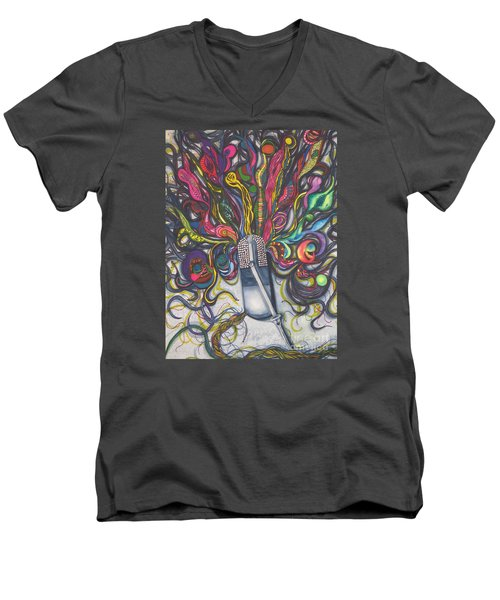 Men's V-Neck T-Shirt featuring the painting Let Your Music Flow In Harmony by Chrisann Ellis