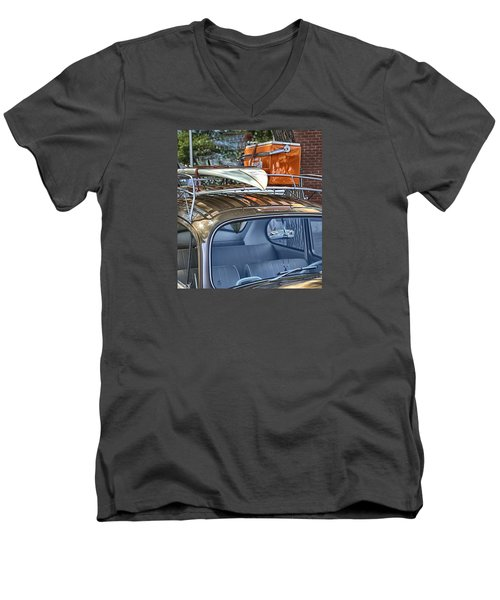 Let's Go Surfing Men's V-Neck T-Shirt by Theresa Tahara