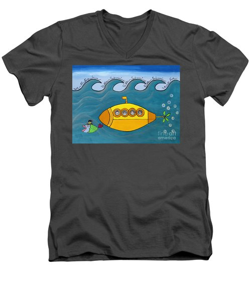 Lets Sing The Chorus Now - The Beatles Yellow Submarine Men's V-Neck T-Shirt