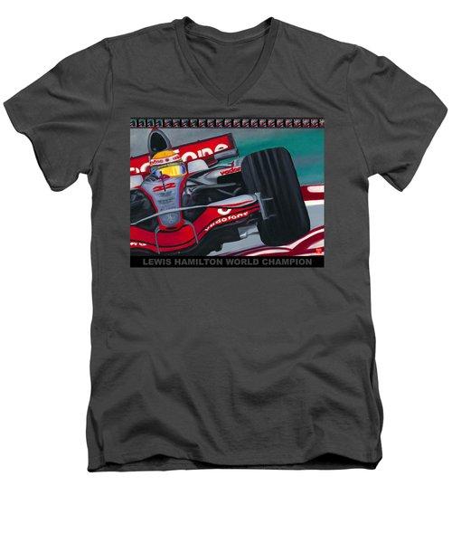 Lewis Hamilton F1 World Champion Pop Men's V-Neck T-Shirt