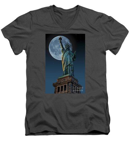 Liberty Moon Men's V-Neck T-Shirt by Steve Purnell