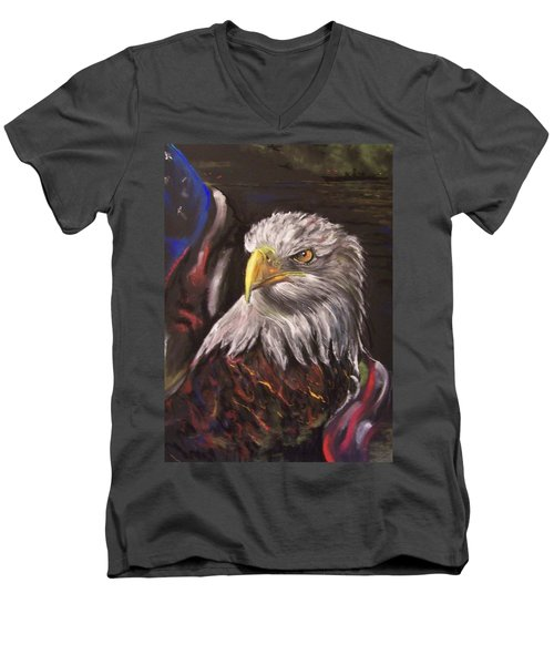 Men's V-Neck T-Shirt featuring the pastel American Pride by Peter Suhocke