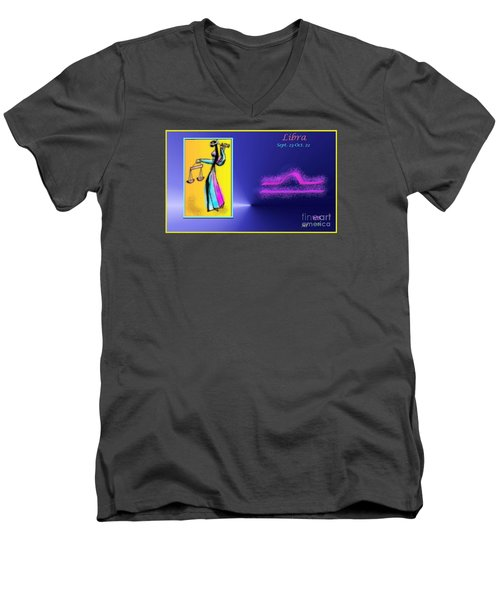 Men's V-Neck T-Shirt featuring the digital art Libra by The Art of Alice Terrill