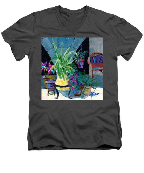 Library Courtyard-rhodes Old Town Men's V-Neck T-Shirt