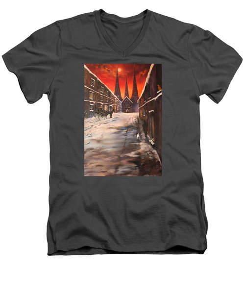 Men's V-Neck T-Shirt featuring the painting Lichfield Cathedral A View From The Close by Jean Walker