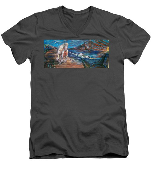 Men's V-Neck T-Shirt featuring the pastel Life After People by Peter Suhocke